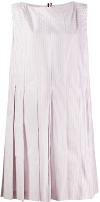 Thom Browne Striped Pleated Shift Dress