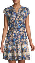 Rebecca Taylor Gigi Floral-Challis Short-Sleeve Shirtdress
