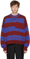 Raf Simons Red and Blue Disturbed Striped Sweater