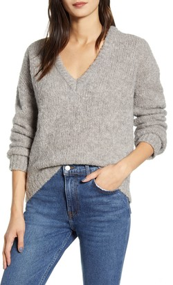 Reformation Amelia Deep V-Neck Alpaca Blend Sweater