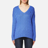 Polo Ralph Lauren Women's VNeck Side Slit Jumper - Brookfield Blue