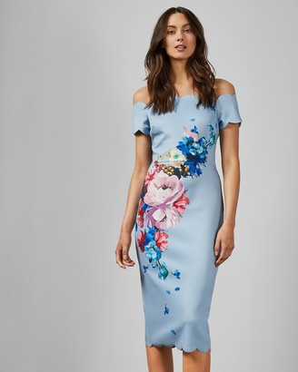 Ted Baker HAILLY Raspberry Ripple bardot dress