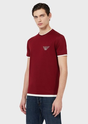 """Emporio Armani Mercerised-Jersey T-Shirt With Milano"""" Embroidery"""