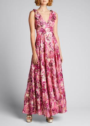 LoveShackFancy Bloom Long Sleeveless V-Neck Dress