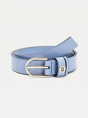 Tommy Hilfiger Monogram Keeper Slim Leather Belt