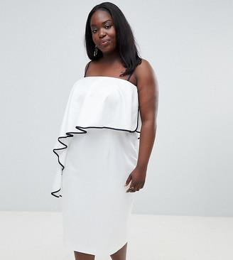 ASOS DESIGN Curve Contrast Ruffle Bandeau Midi Dress