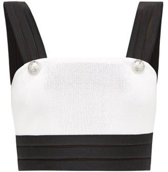 Balmain Crest-button Boned Pique Cropped Top - Womens - White Black