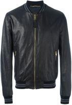Dolce & Gabbana leather bomber jacket - men - Lamb Skin/Polyamide/Spandex/Elastane/Virgin Wool - 48