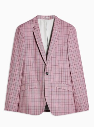 Topman Pink Check Skinny Fit Single Breasted Blazer With Notch Lapels