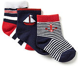 Starting Out Baby Boys 3-Pack Sailboat Crew Socks