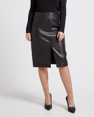 SABA Lilia Leather Pencil Skirt