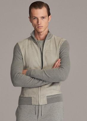 Ralph Lauren Suede-Front Full-Zip Sweater