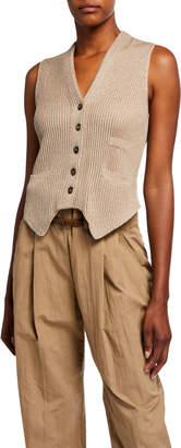Brunello Cucinelli Shimmered Cotton Button-Front Vest