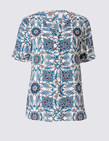 Classic Floral Print Notch Neck Short Sleeve Blouse