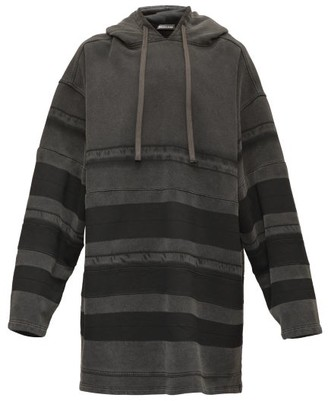 Balenciaga Striped Washed-cotton Hooded Sweatshirt - Black
