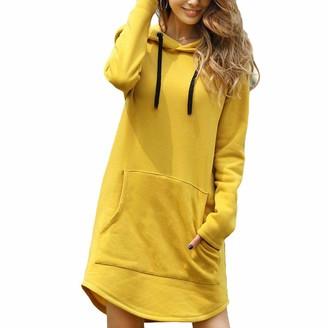Zltang Women Long Hoodie Sweatshirt Dress Solid Color Loose Irregular Hem Autumn Winter Oversized Hooded Pullover Dress Yellow S