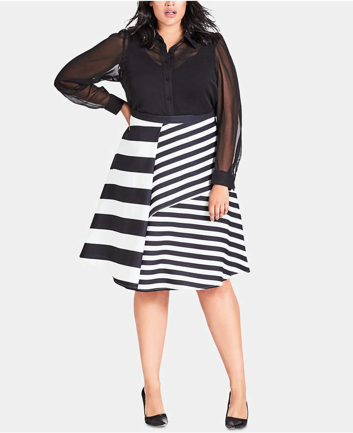 Trendy Plus Size Striped A-Line Skirt