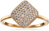 "Crislu Simply Pave"" Gold Plated Sterling Silver Cubic Zirconia Square Ring"