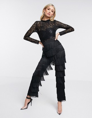 Rare London fringe high neck jumpsuit in black