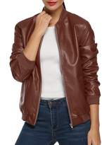 ACEVOG Women's Quilted Biker Bomber Zipper Faux Leather Moto Coat Jacket ( XL)