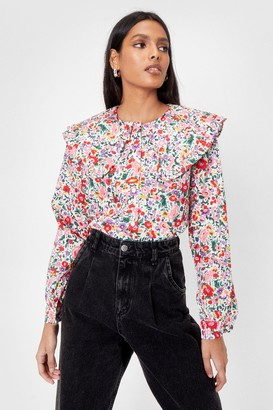 Nasty Gal Womens Gimme a Collar Floral Button-Down Blouse - White - S