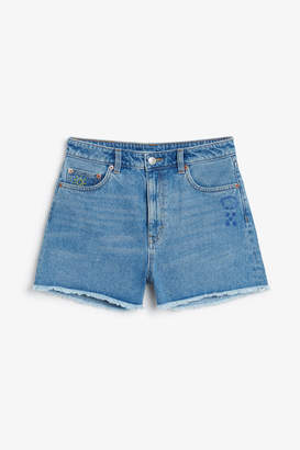 Monki Embroidered denim shorts