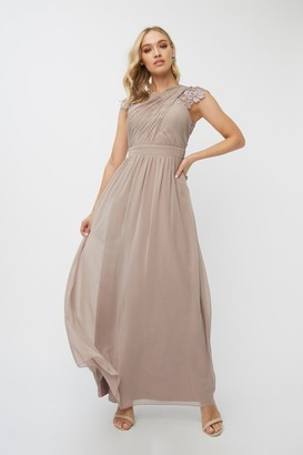 Little Mistress Bridesmaid Leonora Oyster Crochet Maxi Dress