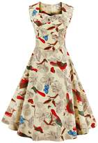 YACUN Women's 1950s Sleeveless Floral Print Cocktail Party Dress 10