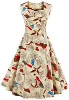 YACUN Women's 1950s Sleeveless Floral Print Cocktail Party Dress 14