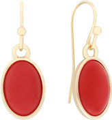 Liz Claiborne Oval Orange and Gold-Tone Drop Earrings