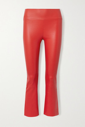 Sprwmn Cropped Leather Flared Pants - Tomato red