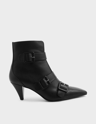 Charles & Keith Buckle Strap Corduroy Cone Heel Ankle Boots