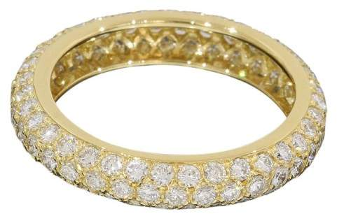 Cartier 18K Yellow Gold Pave Diamonds Ring Size 4.75