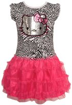 Hello Kitty Little Girls Black Sequin Animal Print Ruffled Dress