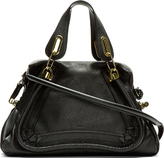 Chloé Black Grained Leather Medium Paraty Shoulder Bag