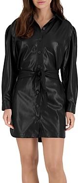 BB Dakota Nelly Faux Leather Puff Sleeve Dress