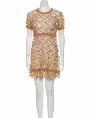 For Love & Lemons Printed Mini Dress Gold