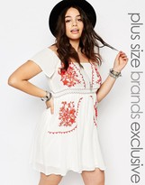 Alice & You Off The Shoulder Embroidered Folk Dress