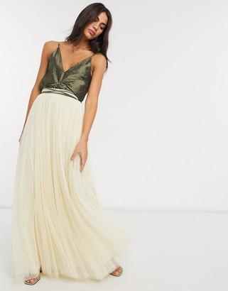 Needle & Thread maxi tulle skirt in lemon