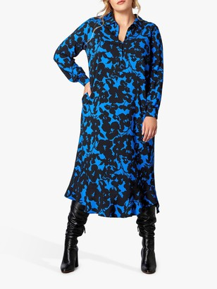 Live Unlimited Floral Ruffle Hem Dress, Cobalt