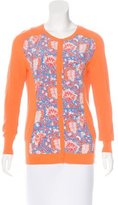 Carven Floral Print Crew Neck Cardigan
