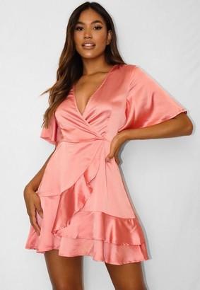 Missguided Blush Satin Wrap Ruffle Hem Dress