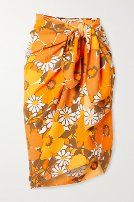 Faithfull The Brand + Net Sustain Nixie Floral-print Voile Pareo - Orange
