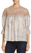 Elie Tahari Neila Embroidered Blouse
