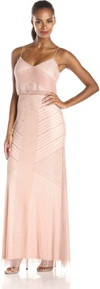 Adrianna Papell Women's Spaghetti Strap Blouson Gown with Beaded Overlay