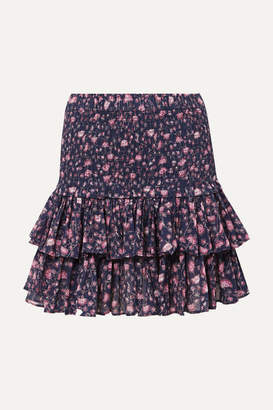 Etoile Isabel Marant Naomi Ruffled Floral-print Cotton-gauze Mini Skirt - Purple
