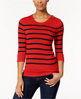 Kensie Striped Button-Detail Sweater