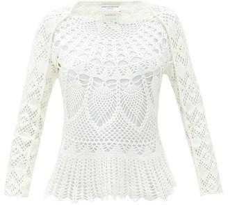 Marine Serre Cotton-crochet Top - White