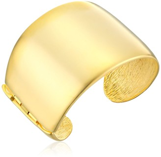 Kenneth Jay Lane Thick Satin Gold Cuff Bracelet