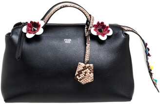 Fendi Black Leather and Python Small By The Way Shoulder Bag